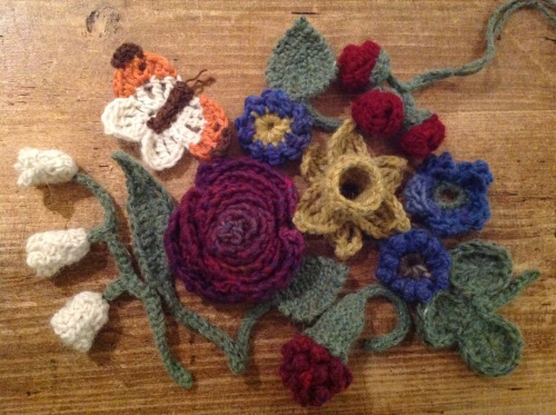 crocheted and knitted flowers