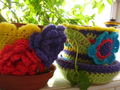 Crochet-bombed flower pots