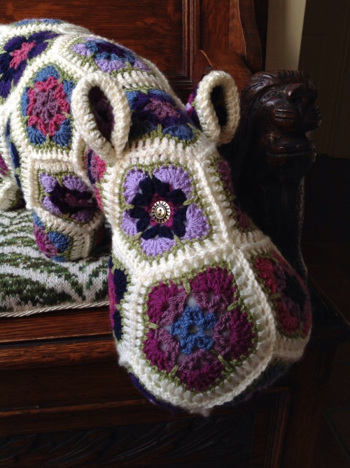 Crocheted hippo