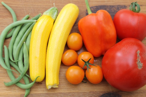 A rainbow of home-grown veg for lunch