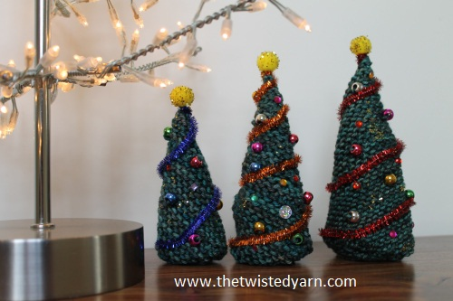 Easy Knitted Christmas Trees