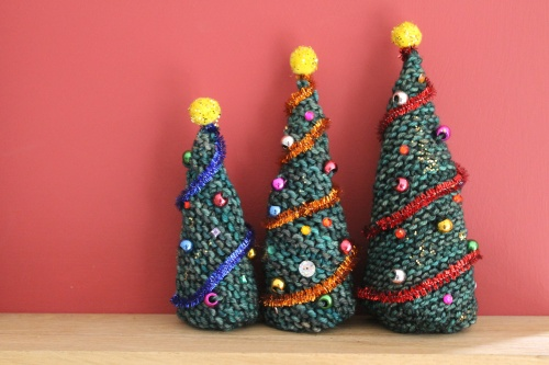 Happy knitted Christmas trees