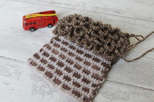 Crochet bricks and roof tiles