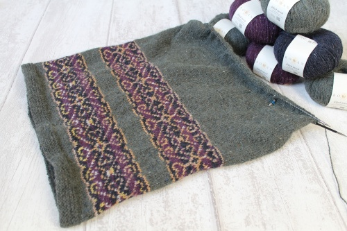 fairisle knitted skirt by TheTwistedYarn in progress