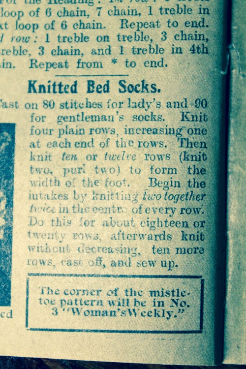vintage knitted bed socks pattern
