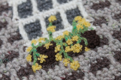 embroidered window boxes flowers